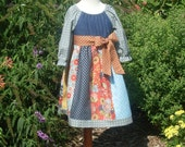 Autumn Country Denim Strip Peasant Dress, Size 3-4, 5-6, 7-8, and 9-10