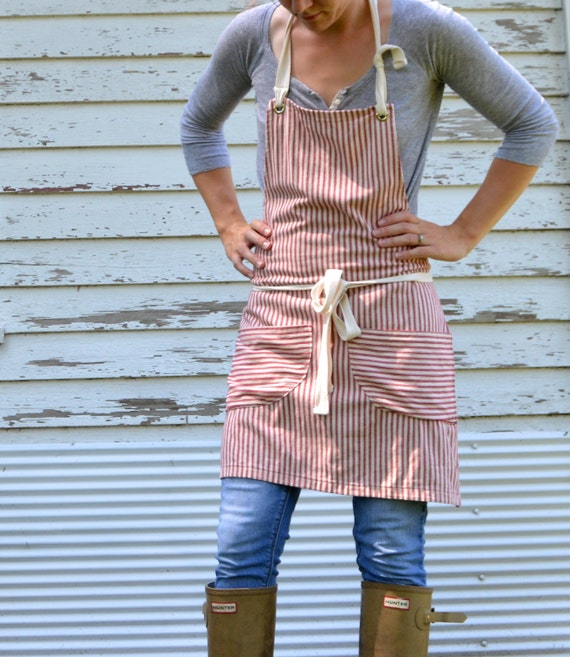 SALE Cotton Ticking Apron No. 3 made to order 7-10 Day Production Time
