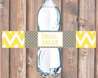 Yellow & Gray Chevron Printable Water Bottle Labels for Birthday Party, Bridal Shower, Baby Shower Chevron Stripes Gold - INSTANT DOWNLOAD