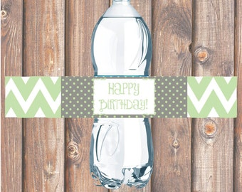 Green & Gray Chevron Printable Water Bottle Labels for Birthday Party, Bridal Shower, Baby Shower - INSTANT DOWNLOAD