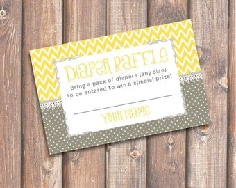 Chevron Yellow and Gray Baby Shower Diaper Raffle Tickets - INSTANT DOWNLOAD