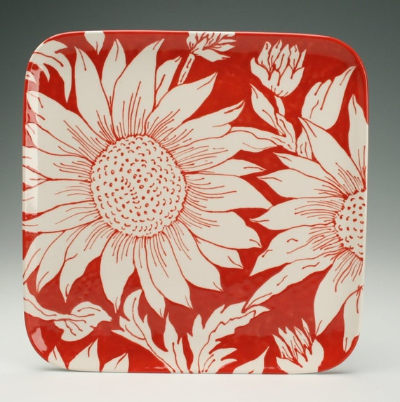 """Sunflower Platter Hand Painted 10-5/8"""" Square Serving Dinnerware Red and White"""