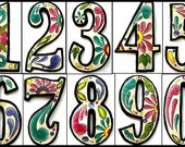 """4 House Numbers - 7 1/2"""" Hand Painted Metal Address - Recycled Steel Drum Art of Haiti - Garden Decor - Decorative House Number -  AD-100-7W"""