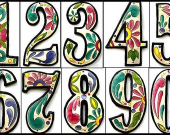 "4 House Numbers - 7 1/2"" Hand Painted Metal Address - Recycled Steel Drum Art of Haiti - Garden Decor - Decorative House Number -  AD-100-7W"