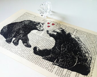 Irresistible Love Two Bears In Love Wedding Engagement Anniversary Valentine Gift Art Print on Antique 1896 Dictionary Book Page