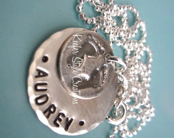 Hand Stamped Small disk/Baby feet charm