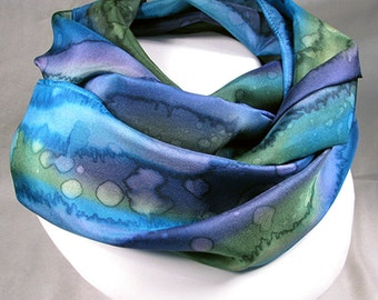 Silk Scarf - Hand Painted Silk Art - Quintessence, Purple, green, blue - Kaleidoscope Rain