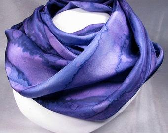 Silk Scarf - Hand Painted Silk Art - Quintessence by Shauna Blake - Amethyst Rain