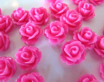 10mm Resin Flower CABOCHONS in Hot Pink, Flat Back, Glue On, For DIY Jewelry, Hair Clips, Scrapbooks, Rings, Cards