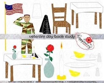 Veterans Day Book Study Clipart: (300 dpi transparent png) Literature Teacher Clip Art Veteran's Day Soldier White Table