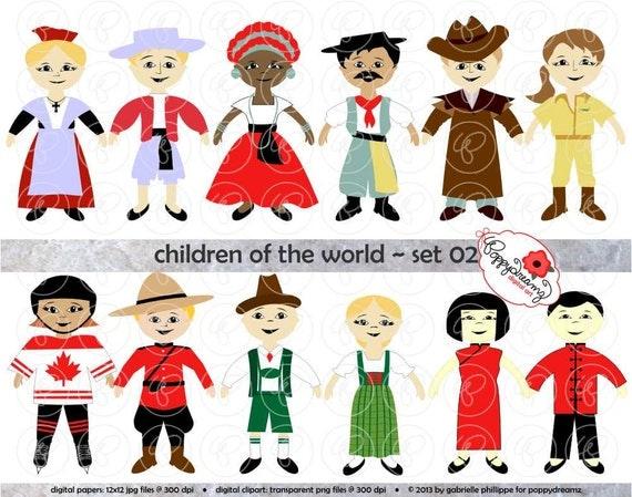 Children Of The World Set 02 Digital Clip Art: France