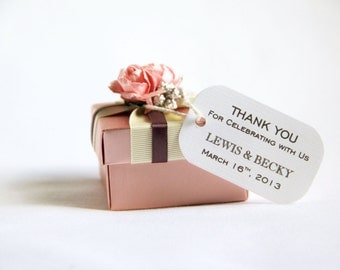 150 Mini Wedding Favor Gift Tags - Modern; Thank You for Celebrating with Us Customized with names hang tag bridal shower bridesmaid gift