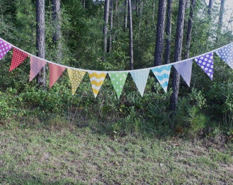 Fabric Pennant Banner - Rainbow - single sided flags