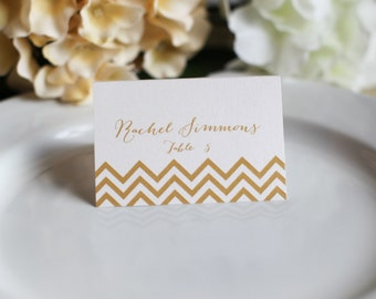 Wedding Custom Customize Chevron Place Cards Simple Elegant Names Guest