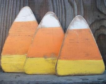 Halloween Candy Corns Set of 3 Wood Distressed Rustic Orange Yellow White