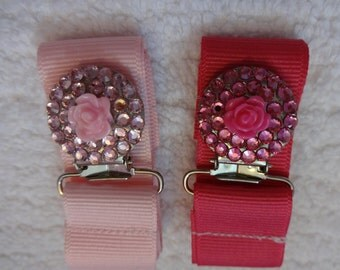 Pretty Pink Rose Authentic Crystal Pacifier Clip