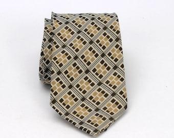 Vintage Necktie Brown Geometric Woven Design