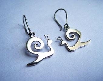 Sterling Silver Snail Earrings, Kapolcs Snail Earrings, Dangle Earrings, Silver Jewelry