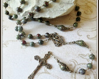 Bronze St. Michael Rosary in Dragon Blood Jasper, Patron Saint of Police Officers, Large Bead Rosary