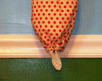 Grocery Bag Dispenser- Plastic Bag Holder- Red & Cream Polka Dot- 7011
