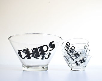Vintage Mod Glass Typography Chip Bowls