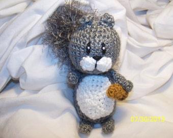 Stewart the grey crochet squirrel