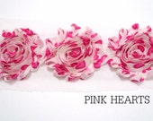 "Shabby Chiffon Rose Trim - 1/2 yard -- 2 1/2"" wide - Dark Pink Hearts"