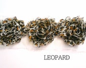 "Mini Shabby Rose Trim - Petite- 1 yard -- 1 1/2"" wide - Leopard"