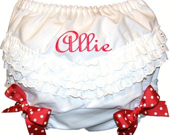 Personalized Ruffle Butt Bloomers Red Bows Baby Girl  Bloomers, Diaper Cover