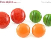 SALE A BRATE Bakelite Button Round Dome Earrings 3 Pair of - Red, Green, Butterscotch