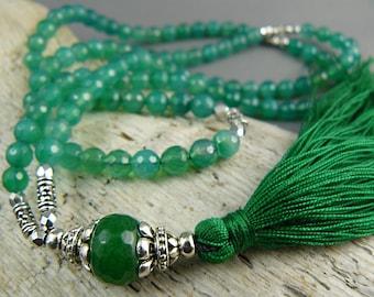 Emerald Forest Mala Necklace, Green  Mala, Tassel Necklace, Mala Beads, Meditation Beads, Yoga Beads, Mala Beads, Gemstone Mala, Japa Mala