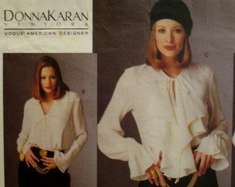 90s Donna Karan Bodysuit Pattern, Ruffled Collar, Long Sleeves, Flounce Cuffs, Snap Closure, Vogue American Designer 1187 UNCUT Size 8 10 12