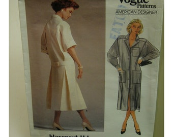 80s Blassport Coat Dress Pattern, Straight, Back Pleats, Belt, Button Front, Collar, Vogue American Designer 1543 Size 8 OR 10 OR 14 (UNCUT)
