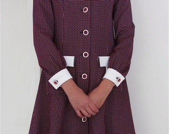 The 1960's Red, White, and Blue Checked Button-up Shirtdress