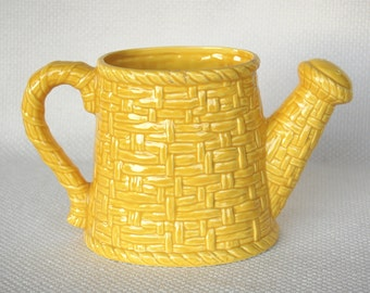 Vintage Lefton H7428 Yellow Watering Can Planter Yellow Ceramic Basket Weave Vase or Planter