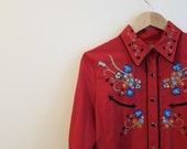Scully Western Shirt Rockabilly Cowgirl blouse womens embroidered floral red S - FreshHotVintage