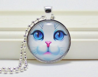 Blue-eyed Cat Pendant, White Cat Pendant, Cat Necklace, Cat Jewelry, Cat Lover