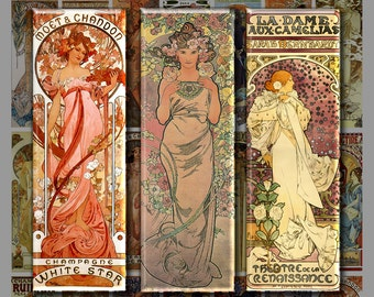 1x3 inch MUCHA WOMEN Digital Printable Slide collage sheet for Pendants Magnets Crafts...Alphonse Mucha Art Nouveau Posters