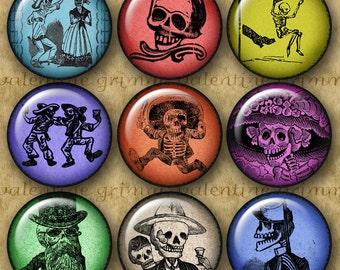 DAY of the DEAD 1 inch Circles - Digital Printables for making Pendants Magnets Crafts...Dia de los Muertos Calaveras by Jose Posada