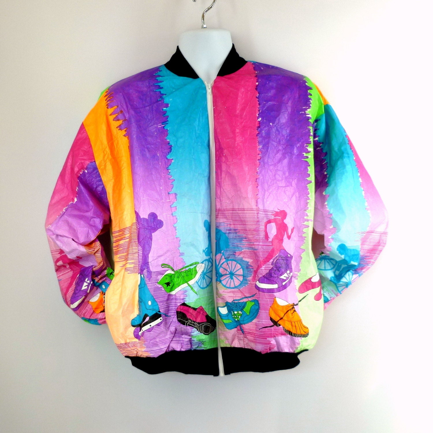 tyvek jacket super bright colors cycling running nos vintage