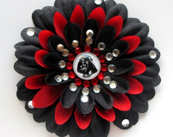 Darth Vader Black Penny Blossom Rhinestone Flower Barrette