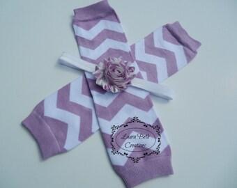 Lavender Chevron Legwarmer and Headband Set, Baby Headband, Shabby Chic Headband, Newborn Headband and Legwarmer Set, Baby Leggings