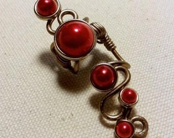 SALE - After Dark Ear Cuff - Dark Red Pearls and Romantic Curls