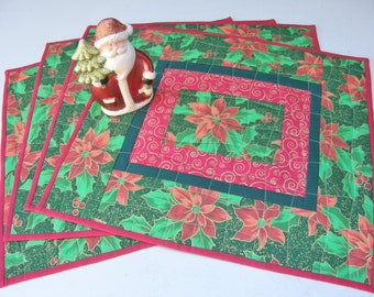 Quilted Christmas Placemats - Classic Poinsettias - Set of 4
