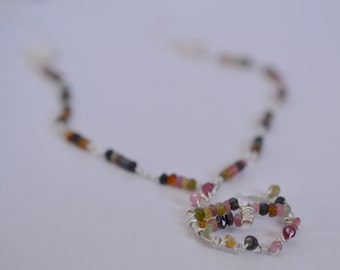 Sterling Silver Multi-Colored Watermelon Tourmaline Pendant & Pearl Necklace