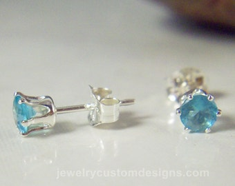 4mm Aquamarine Lab Created stud earrings set in sterling silver, March Birthstone