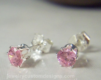 4mm Pink Tourmaline CZ Post Earrings, Tiny Studs, October Jewelry