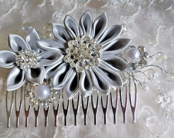Kanzashi Flower  Haircomb Hair Fascinator Grey Color Satin Ribbon with Pearl Spray and Rhinestone