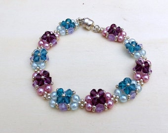 Beaded Pearls and Swarovski Crystal Bracelet