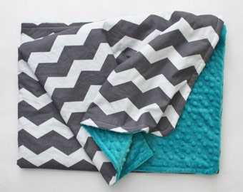 PERSONALIZED Chevron Baby Blanket - Gray and White Chevron YOUR CHOICE of Minky Color